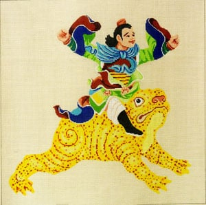 click here to view larger image of Warrior on Frog (hand painted canvases)