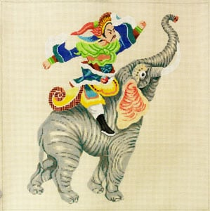 click here to view larger image of Warrior on Elephant (hand painted canvases)