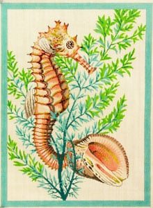 click here to view larger image of Seahorse and Shells - Aqua (hand painted canvases)