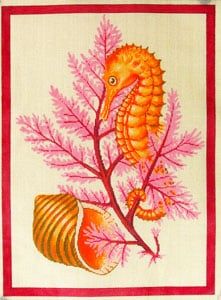 click here to view larger image of Seahorse and Shells - Pink (hand painted canvases)