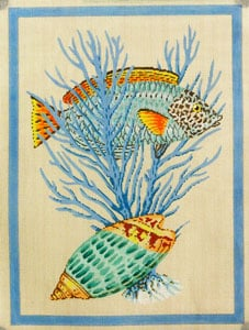 click here to view larger image of Fish and Shells - Light Blue (hand painted canvases)