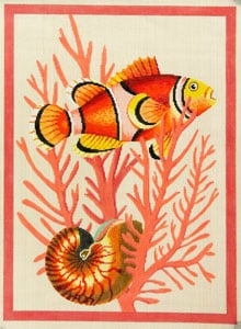 click here to view larger image of Clown Fish and Shell - Peach (hand painted canvases)