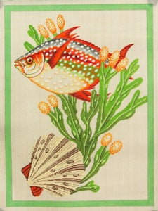 click here to view larger image of Fish and Shells - Green (hand painted canvases)