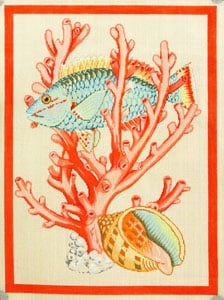 click here to view larger image of Fish and Shell - Coral (hand painted canvases)