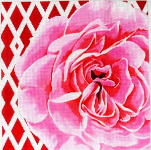 click here to view larger image of Lattice Rose on Rose (hand painted canvases)