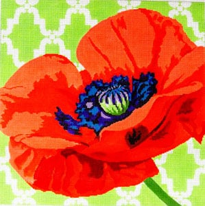click here to view larger image of Poppy on Lime (hand painted canvases)