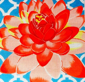 click here to view larger image of Water Lily on Aqua (hand painted canvases)