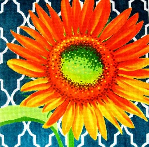 click here to view larger image of Sunflower on Teal (hand painted canvases)