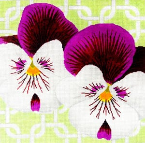 click here to view larger image of Pansies on Mint (hand painted canvases)