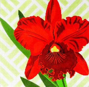 click here to view larger image of Red Orchid on Green (hand painted canvases)