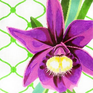 click here to view larger image of Purple Orchid on Lace (hand painted canvases)