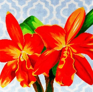 click here to view larger image of Orange Orchid on Blue (hand painted canvases)