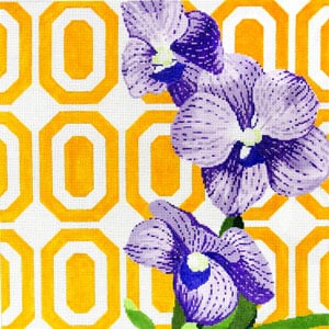 click here to view larger image of Purple Orchid on Yellow Vanda (hand painted canvases)