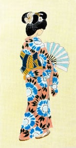 click here to view larger image of Geisha - Yellow Background (hand painted canvases)