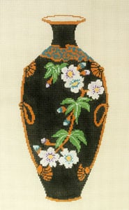 click here to view larger image of Antique Vase - Black with White Flowers (hand painted canvases)