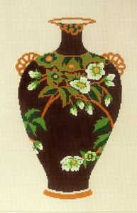 click here to view larger image of Antique Vase - Red with White Flowers (hand painted canvases)