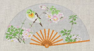 click here to view larger image of Asian Fan with Green & Yellow bird, Pink Flower (hand painted canvases)