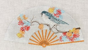 click here to view larger image of Asian Fan with Blue bird with mixed Flowers (hand painted canvases)