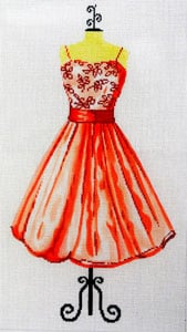 click here to view larger image of Party Dress - Poppy - Flowered Bodice (hand painted canvases)