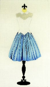 click here to view larger image of Party Dress - Blue and White (hand painted canvases)