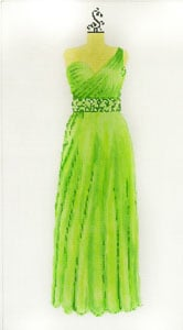 click here to view larger image of Evening Gown - Lime with one shoulder strap (hand painted canvases)