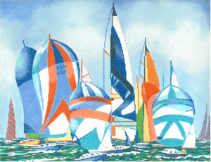 click here to view larger image of Regatta Sails (hand painted canvases)