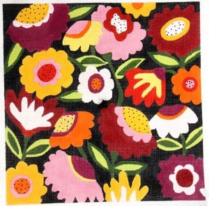 click here to view larger image of Bloomers Black Background - Medium (hand painted canvases)