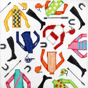 click here to view larger image of Jockey Jumble (hand painted canvases)