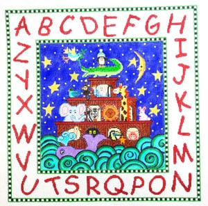 click here to view larger image of Noah's Ark Alphabet (hand painted canvases)