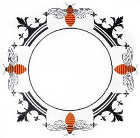 click here to view larger image of Crown Bee Monogram (hand painted canvases)