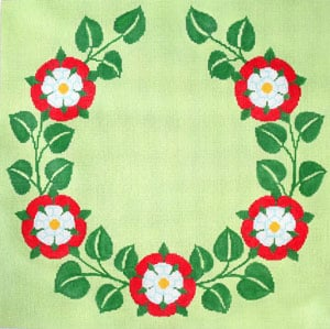 click here to view larger image of Monogram - Tudor Rose - Wreath (hand painted canvases)