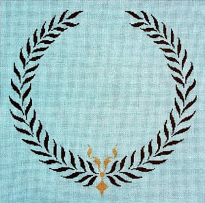 click here to view larger image of Monogram - Greek Wreath (hand painted canvases)