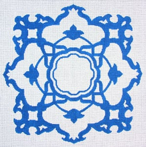 click here to view larger image of Monogram - Stylized Flowers (hand painted canvases)