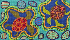 click here to view larger image of Aboriginal Turtles - 18 Count (hand painted canvases)