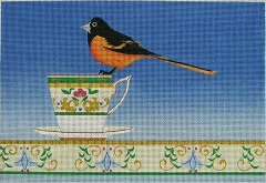 click here to view larger image of Goldfinch on a Tea Cup (hand painted canvases)