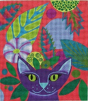 click here to view larger image of Purple Cat (hand painted canvases)