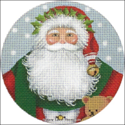 click here to view larger image of Merry Christmas Santa Ornament (hand painted canvases)