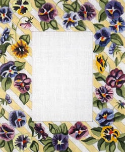 click here to view larger image of Pansies - Diagonal Stripe Background (hand painted canvases)
