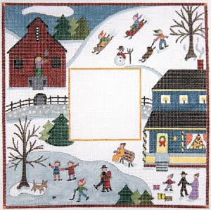 click here to view larger image of Winter - Primitive Farm Scene (hand painted canvases)