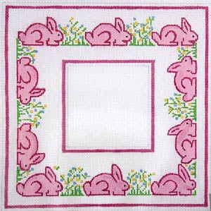 click here to view larger image of Pink Bunnies and Flowers (hand painted canvases)