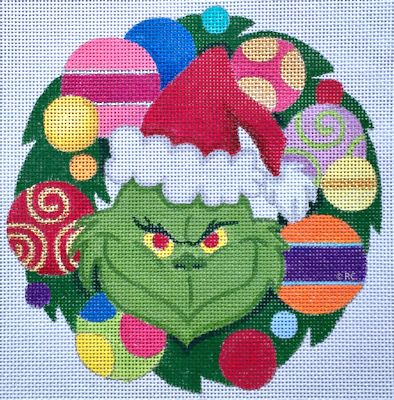 Grinch Wreath hand painted canvases