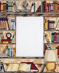 click here to view larger image of Library - Book Shelves with Globe and Lamp (hand painted canvases)