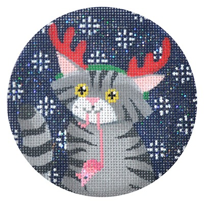 click here to view larger image of Tabby Cat Xmas Circle (hand painted canvases)