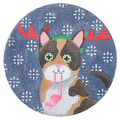 click here to view larger image of Calico Cat Xmas Circle (hand painted canvases)