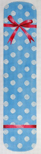 click here to view larger image of Polka Dot & Bow Eyeglass Case Blue (hand painted canvases)
