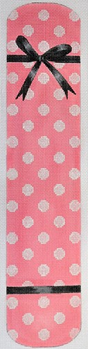 click here to view larger image of Polka Dot & Bow Eyeglass Case Pink (hand painted canvases)