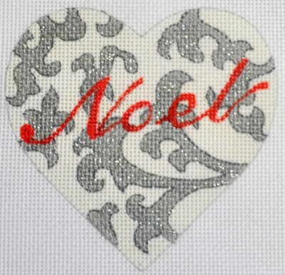 click here to view larger image of Noel Heart Silver (hand painted canvases)