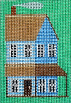 click here to view larger image of Blue Prairie House Key Fob (hand painted canvases)
