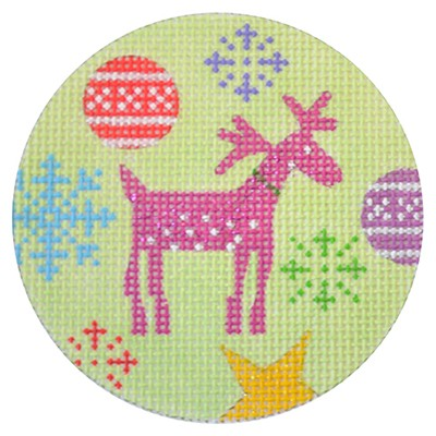 click here to view larger image of Rudolf Christmas Round (hand painted canvases)