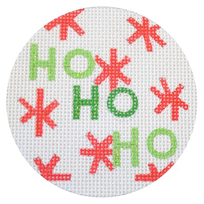 click here to view larger image of Ho Ho Ho Christmas Circle White (hand painted canvases)